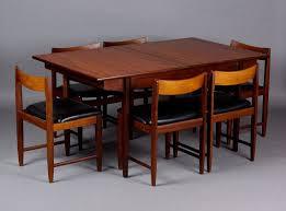 Vintage Danish Modern  Mid Century Teak Dining Table Chair Set - Danish teak dining room table and chairs
