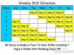 12 hour shift schedule template template business