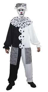 Halloween Clown Costumes Scary Pierrot Scary Theatrical Black White Clown Costume Halloween Fancy