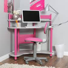 cute white color scheme kids girls study space design with pink