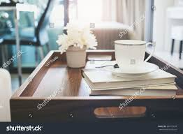 home interior coffee cup books white stock photo 384172639