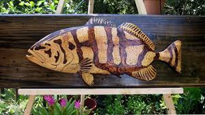 interesting wooden fish wall carved large wood tropical