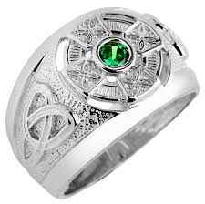 celtic rings with images Silver celtic men 39 s ring with emerald jpg
