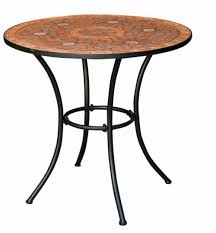 Tile Bistro Table Outdoor Patio Bistro Table W Terracotta Mosaic Tiles Black Metal