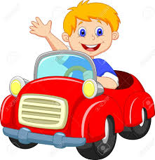 cartoon car boy cartoon in the red car royalty free cliparts vectors and