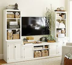 logan media suite with door bookcase antique white pottery barn