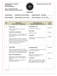 House Specification Sheet by Nebosh Igc 3 Observation Sheet 00218445 Final Personal