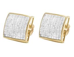 real diamond earrings 14k yellow gold mens princess diamond dome square studs