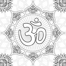 coloring page lotus flower mandala with aum symbol stock vector