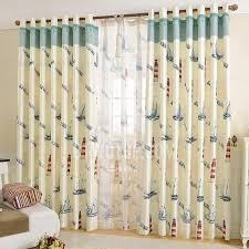 Lighthouse Window Curtains Mediterranean Style Nautical Curtains Artificial Fiber Boat And