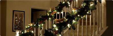 garlands for stairs happy holidays
