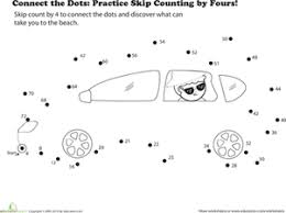 connect the dots practice skip counting by fours worksheet