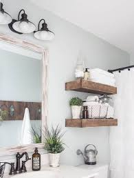 shelves in bathrooms ideas white farmhouse bathroom ideas with superb rustic wood shelves