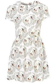topshop dress lyst topshop swan print collar dress in white