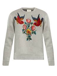 gucci bird and flower appliqué cotton sweatshirt online cheap