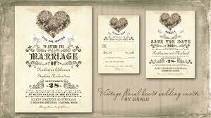 vintage wedding invitation read more vintage floral heart wedding invitation wedding