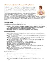 chapter 13 objectives the respiratory system