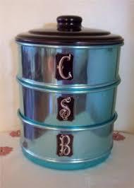 vintage jason coloured anodised kitchen canisters vintage