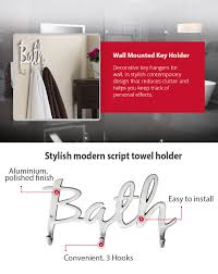 amazon com modern style u201cbath u201d wall mount towel holder and robe