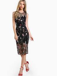 sheer overlay floral embroidered dress black shein sheinside