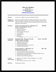 Healthcare Resume Cover Letter Example Of Resume For Medical Assistant Resume For Your Job