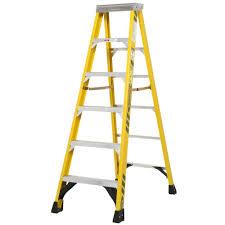 ladder werner 6 ft fiberglass step ladder with 375 lb load capacity