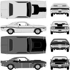 Dodge Challenger 1970 - car blueprints 1970 dodge challenger coupe blueprint