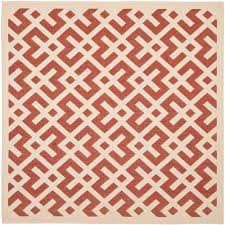Outdoor Rug Square by Safavieh Four Seasons Red Multi 6 Ft X 6 Ft Square Indoor