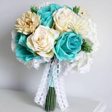 wedding flowers online vintage silk flowers mint green artificial wedding bouquets bridal