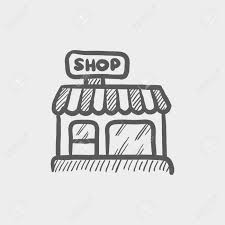 business shop sketch icon for web and mobile hand drawn vector