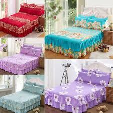 home flower floral bed skirt pillowcase dust ruffle bedspread