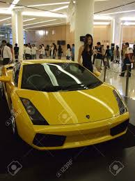 yellow lamborghini bangkok thailand january 8 yellow lamborghini inside the