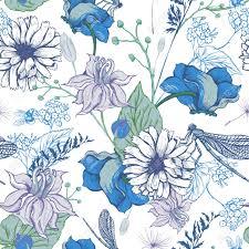 vintage garden flowers vector seamless pattern botanical shabby