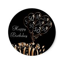 black balloons happy 50th birthday black balloons classic sticker