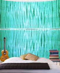 green shibori tie dye wall hanging tapestry queen throw