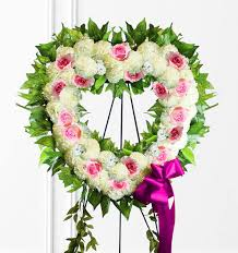 heart wreath pink white sympathy heart wreath flowers expo florist of