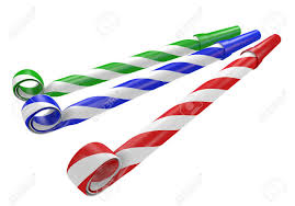 party horns striped blue and green noisemaker party horns stock photo