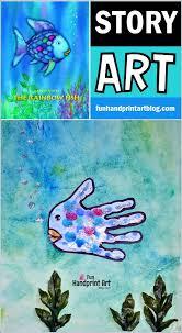 rainbow fish book handprint craft fun handprint art