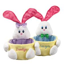 bunny easter basket comfy pink gingham personalized easter basket web to cordial