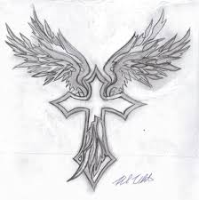angel winged cross tattoos foot tattoos design