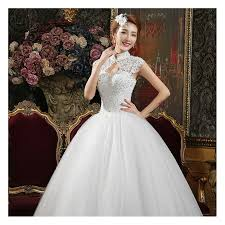 2017 korean style lace halter neck wedding dress fashion