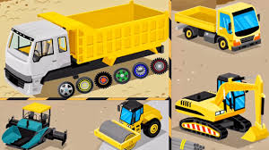 construction machinery builds trucks for kids learms cartoon
