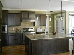 Brick Backsplash Kitchen Brownish Gray Cabinets Wooden Flooring Granite Countertop Single