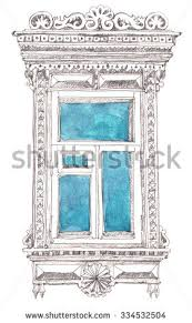old window sketch freehand drawing graphite stock illustration