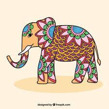ornamental indian elephant vector free