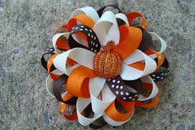 fall hair bow thanksgiving hair bow pumpkin hair bow hair clip
