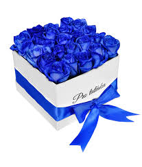 white and blue roses white box of blue roses for