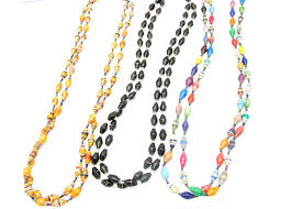 bead necklace long images Paper beaded necklaces from africa jpg