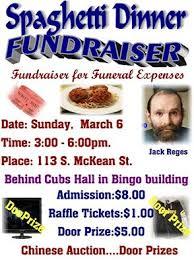 funeral expenses spaghetti dinner fundraiser for funeral expenses for