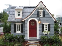 Black Shutter Muted Icy Blue Siding Deep Red Door Black Shutters And White